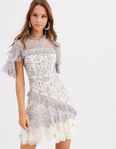 Кружевное платье мини с прозрачными рукавами Needle & Thread-Мульти