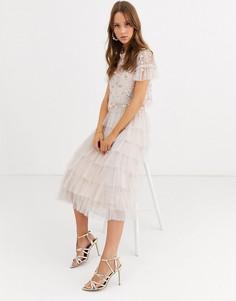 Розовая ярусная юбка с оборками Needle & Thread-Розовый
