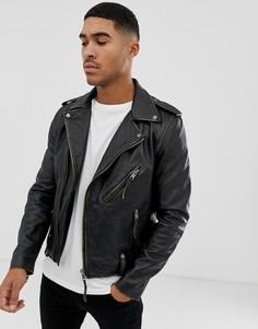 Кожаная байкерская куртка Bolongaro Trevor-Черный