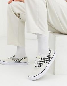 Черные туфли в клетку Vans-Белый