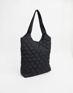 Черная стеганая сумка-тоут Pieces-Черный