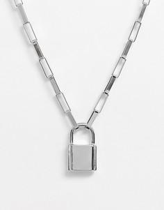 Серебристое колье с подвеской ASOS DESIGN-Серебряный