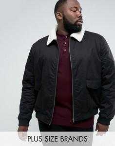 Куртка Харрингтон с клетчатой подкладкой и воротником из искусственного меха French Connection PLUS-Черный