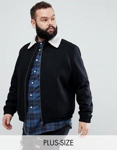 Шерстяная куртка Харрингтон с воротником из искусственного меха Noose & Monkey PLUS-Черный