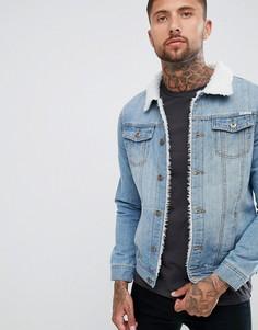 Выбеленная джинсовая куртка с искусственным мехом Liquor N Poker-Синий
