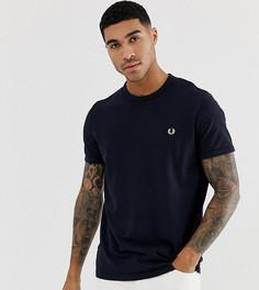 Темно-синяя футболка из ткани пике с круглым вырезом и логотипом Fred Perry эксклюзивно для ASOS-Темно-синий