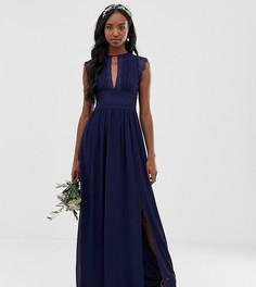 Темно-синее платье макси с кружевной отделкой TFNC Tall-Темно-синий