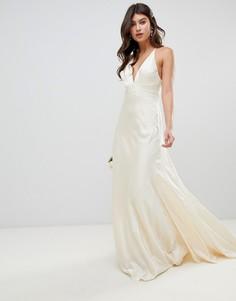 Свадебное платье со шлейфом ASOS EDITION-Кремовый