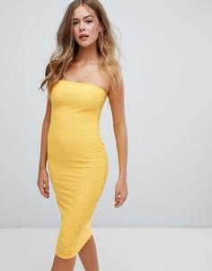 Желтое платье миди бандо Missguided-Желтый