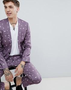 Пиджак супероблегающего кроя с принтом фламинго Noose & Monkey-Фиолетовый