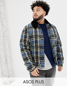 Вельветовая куртка Харрингтон в клетку с воротником из искусственного меха ASOS DESIGN Plus-Синий