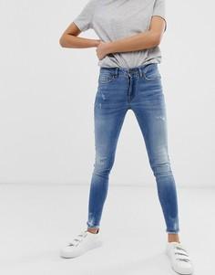 Зауженные джинсы с потертостями Ichi-Синий