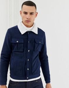 Куртка из искусственной замши с воротником из искусственного меха Another Influence-Темно-синий