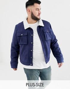 """Куртка из искусственной замши с воротником \""""борг\"""" Another Influence PLUS-Темно-синий"""