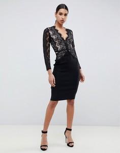 Черное облегающее платье миди с отделкой из фактурного кружева Rare London-Черный