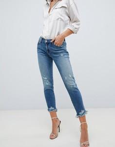 Прямые джинсы с потертостями J Brand Sadey-Синий