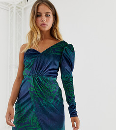 Бархатное платье мини на одно плечо с принтом под змеиную кожу Reclaimed Vintage Inspired-Мульти