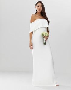 Креповое свадебное платье-футляр с открытыми плечами ASOS EDITION-Белый
