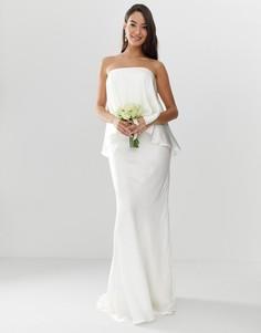 Атласное свадебное платье с открытыми плечами, верхним слоем и асимметричным краем ASOS EDITION-Белый