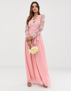 Платье макси с длинными рукавами и кружевной отделкой Club L Bridesmaid-Розовый
