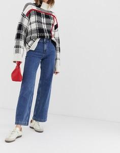 Широкие джинсы с завышенной талией Selected Mary-Синий