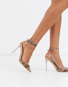 Прозрачные туфли-лодочки со змеиным принтом Missguided-Мульти