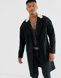 """Черное пальто с заниженной линией плеч и воротником \""""борг\"""" Religion-Черный"""
