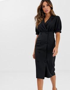 Платье миди в стиле смокинга с запахом и воротником ASOS DESIGN-Черный