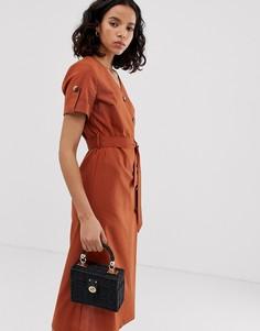 """Платье миди из ткани с добавлением льна и пуговицами расцветки \""""safari\"""" Only-Коричневый"""