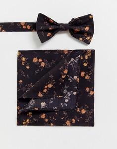 "Галстук-бабочка и платок для нагрудного кармана с принтом \""liberty\"" Gianni Feraud-Темно-синий"