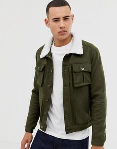 Куртка из искусственной замши с воротником из искусственного меха Another Influence-Зеленый