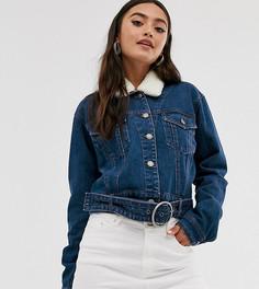 Джинсовая куртка с отстегивающимся меховым воротником Urban Bliss-Синий