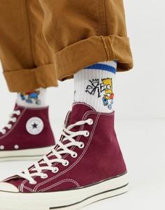"""Спортивные носки с принтом \""""Барт Симпсон\"""" ASOS DESIGN-Белый"""
