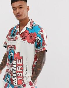 """Комбинируемая oversize-рубашка с выбеленным принтом \""""рестлер\"""" ASOS DESIGN-Белый"""
