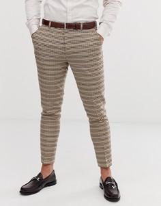 """Зауженные брюки с рисунком \""""гусиная лапка\"""" Gianni Feraud-Коричневый"""