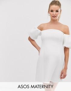 """Короткое приталенное платье с рукавами \""""фонарик\"""" ASOS DESIGN Maternity-Белый"""
