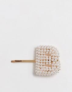 """Золотистая заколка для волос с жемчужной отделкой в виде буквы \""""B\"""" ASOS DESIGN-Золотой"""