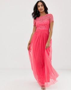 Платье макси с кружевным топом Little Mistress-Оранжевый