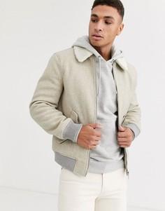 """Светло-серая куртка Харрингтон с воротником \""""борг\"""" River Island-Серый"""
