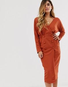 Платье-смокинг миди с запахом ASOS DESIGN-Красный