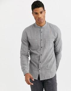 """Черная рубашка в клетку \""""принц Уэльский\"""" с двумя карманами Selected Homme-Черный"""