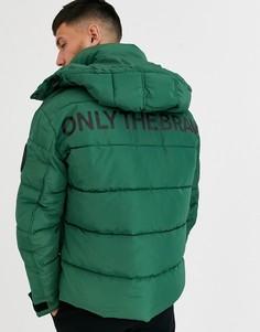 """Зеленая дутая куртка с надписью \""""Only The Brave\"""" Diesel W-Smith-YA-WH-Зеленый"""