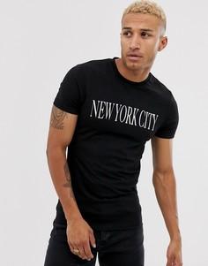 Облегающая эластичная футболка с принтом в виде названия города ASOS DESIGN-Черный