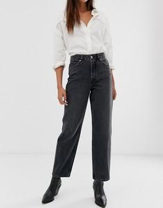 Серые джинсы прямого кроя с завышенной талией Selected Femme-Серый