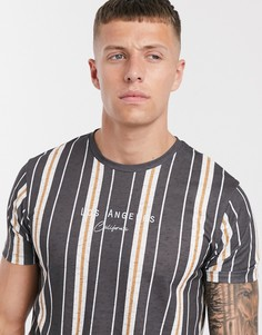 """Футболка в выбеленную черную полоску с принтом \""""LA\"""" Burton Menswear-Черный"""