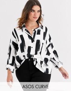 """Укороченная рубашка с длинными рукавами и принтом \""""мазки кисти\"""" ASOS DESIGN Curve-Бесцветный"""