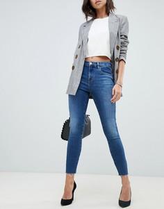 Синие выбеленные укороченные джинсы скинни с завышенной талией и необработанными краями J Brand Alana-Синий