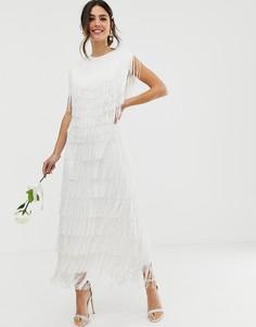 Платье макси с бахромой ASOS EDITION-Белый