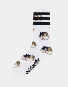 Носки с принтом ангелов и тремя полосками adidas x Fiorucci-Белый