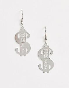 """Серебристые серьги в виде знака доллара с надписью \""""sexy\"""" ASOS DESIGN-Серебряный"""